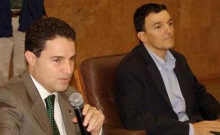 Alcalde Aníbal Gaviria y Esteban Calle. Foto tomada de El Colombiano